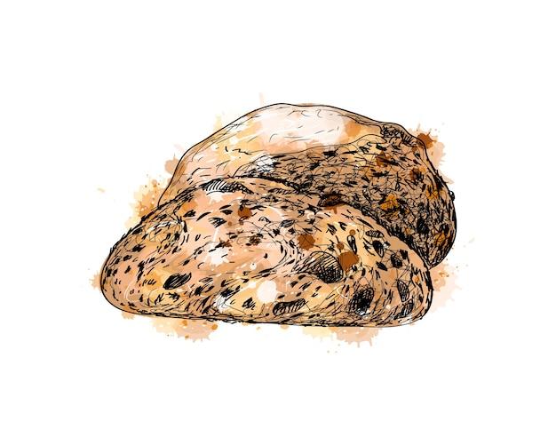 Pão com um toque de aquarela, esboço desenhado à mão. ilustração de tintas Vetor Premium