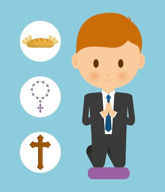 Pão cross rosário menino garoto cartoon ícone Vetor Premium