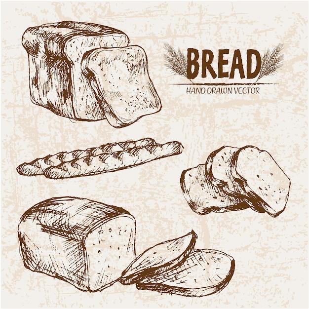 Pão fatiado desenhado a mão Vetor Premium