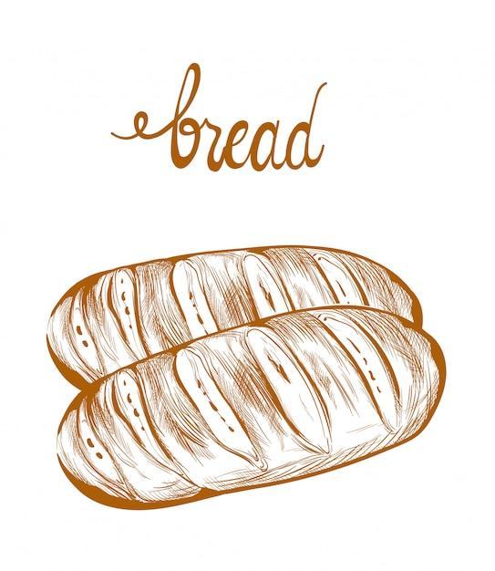 Pão lineart Vetor Premium