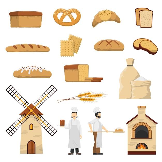 Pão padaria set Vetor grátis