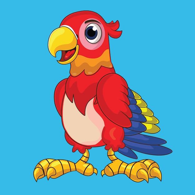 Papagaio bonito em vermelho brilhante Vetor Premium