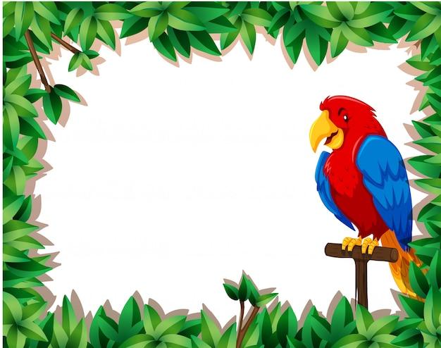 Papagaio com moldura de natureza Vetor grátis