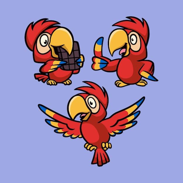 Papagaio come chocolate, levanta e voa pacote de ilustração de mascote de logotipo de animal Vetor Premium