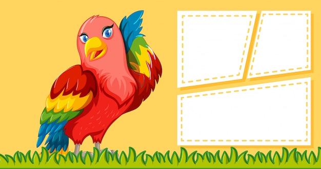 Papagaio, nota, fundo Vetor grátis