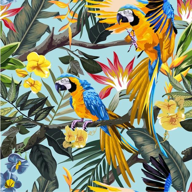 Papagaios de arara na floresta tropical Vetor Premium
