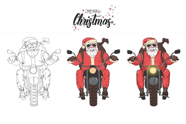 Papai noel andar de moto com uma mochila de presentes. Vetor Premium