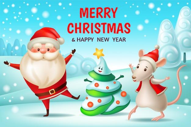 Papai noel, árvore de natal, rato. cartão de ano novo Vetor Premium