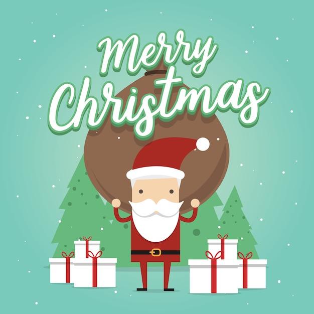 Papai noel carrega uma sacola pesada cheia de presentes. cartão de feliz natal Vetor Premium