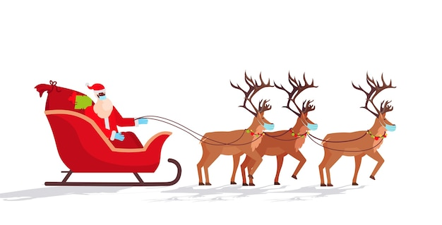 Papai noel com máscara andando de trenó com renas feliz ano novo, feliz natal, férias, celebração, conceito, ilustração horizontal Vetor Premium