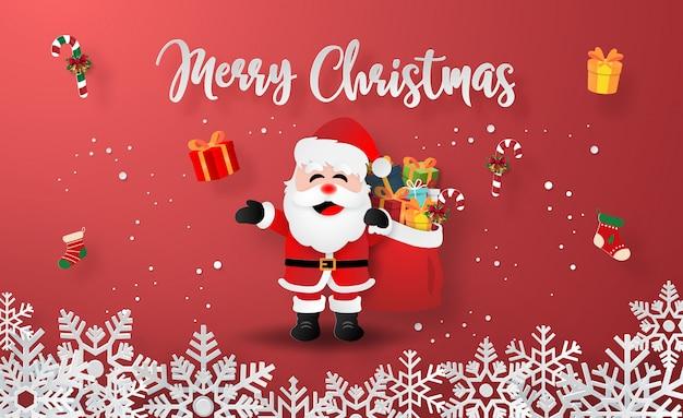 Papai noel com presentes de natal Vetor Premium