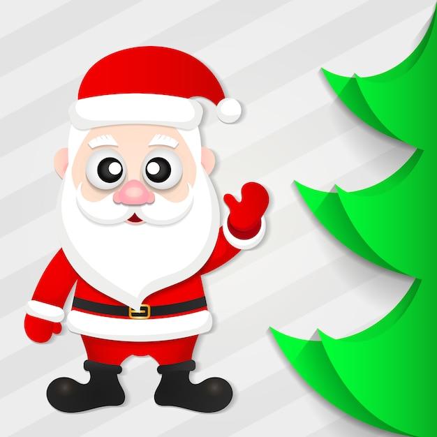 Papai noel com uma árvore de natal Vetor Premium