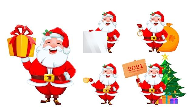 Papai noel, conjunto de cinco poses. feliz natal e feliz ano novo Vetor Premium