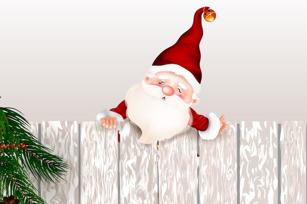 Papai noel de sorriso feliz que está atrás de um sinal em branco, mostrando um sinal em branco grande do ltht. cartão de natal. símbolo da natividade de cristo. feliz natal. Vetor Premium
