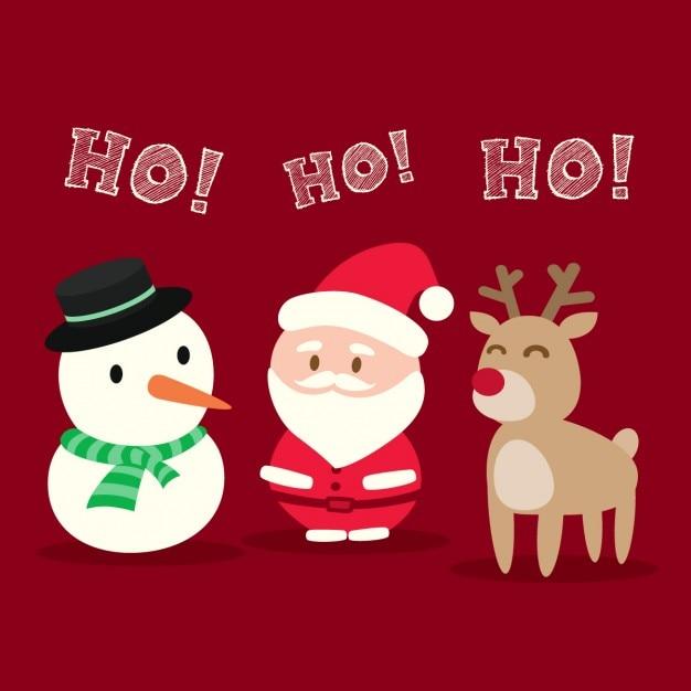 Papai Noel Do Boneco De Neve Dos Desenhos Animados Do Natal Da
