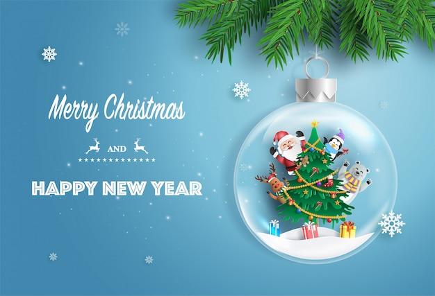 Papai noel e amigos com a árvore de natal na bola de natal. Vetor Premium