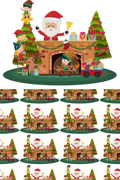 Papai noel e árvore de natal Vetor Premium