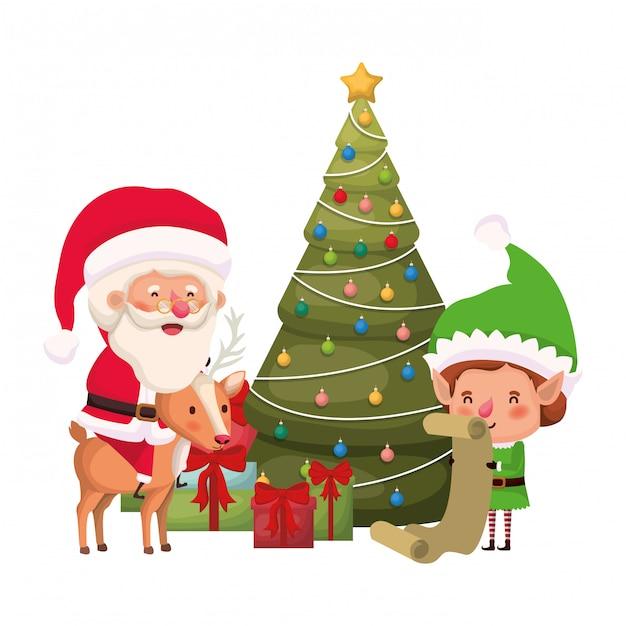 Papai noel e elfo com árvore de natal Vetor Premium