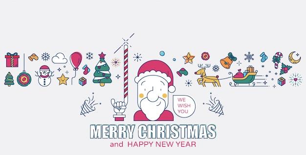 Papai noel e os ícones de natal colorido ilustração vetorial de linha Vetor Premium