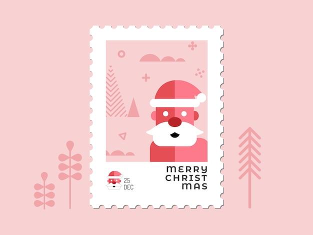 Papai noel em tom vermelho - design plano de carimbo de natal para cartão de felicitações e multiuso Vetor Premium