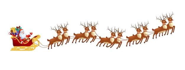 Papai noel em um trenó com renas no fundo branco decoração de feliz natal e feliz ano novo Vetor Premium
