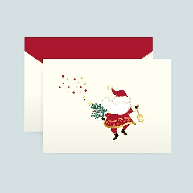 Papai noel em um vetor de cartão de natal Vetor grátis