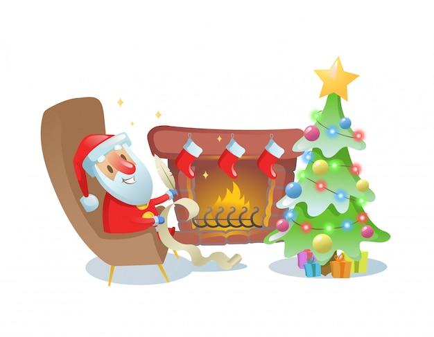 Papai noel engraçado escrevendo uma carta junto à lareira sob a árvore de natal. ilustração. sobre fundo branco. Vetor Premium