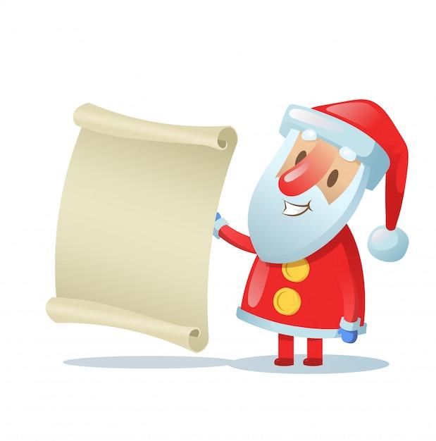 Papai noel engraçado segurando um pergaminho em branco. ilustração colorida. sobre fundo branco. Vetor Premium