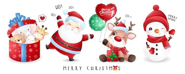 Papai noel fofo e amigos no dia de natal com banner em aquarela Vetor Premium