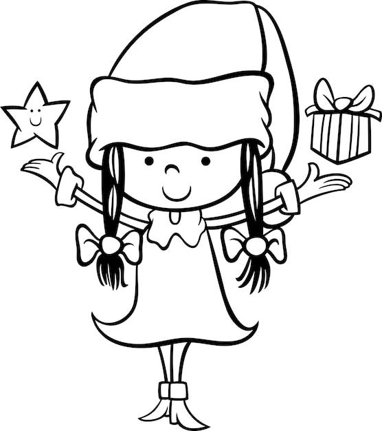 Papai Noel Menina Desenho Animado Colorir Pagina Vetor Premium