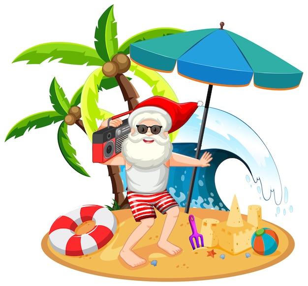Papai noel na ilha da praia para o verão de natal Vetor grátis