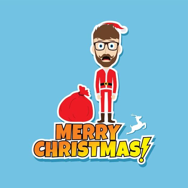 Papai noel natal ilustração em vetor tema pai magrinho Vetor Premium