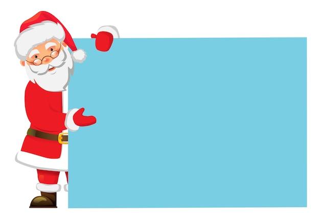 Papai noel segurando a bandeira. banner de publicidade em branco de natal. Vetor Premium