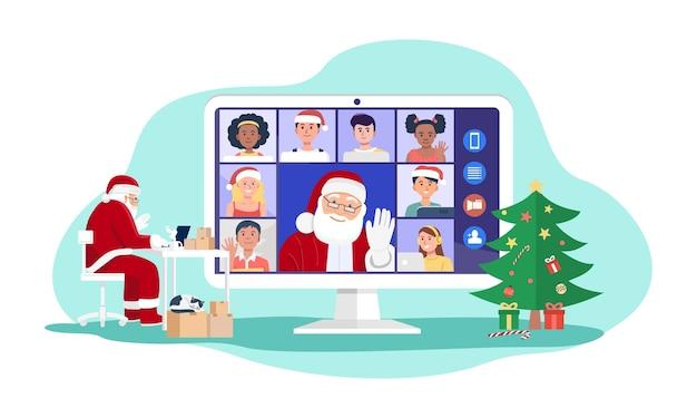 Papai noel tendo videoconferência no computador com crianças em casa. Vetor Premium