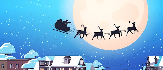 Papai noel voando em um trenó com renas no céu noturno sobre as casas da vila feliz ano novo, feliz natal, banner, inverno, férias, conceito, vetorial, ilustração horizontal Vetor Premium