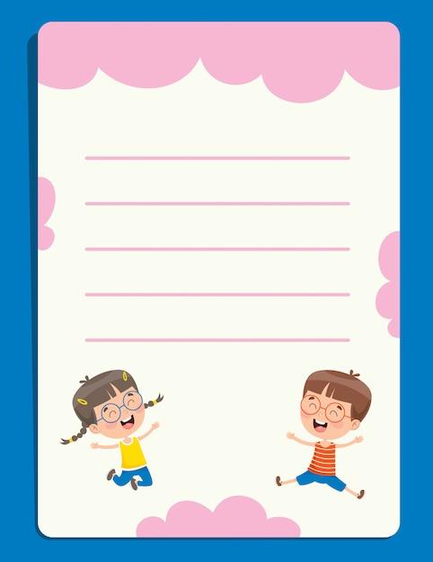 Papéis de nota em branco para educação infantil Vetor Premium
