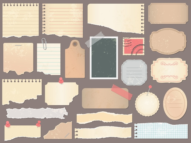 Papéis de scrapbook. papel de scrapbooking vintage, páginas de recados retrô e papéis velhos álbum antigo textura ilustração Vetor Premium