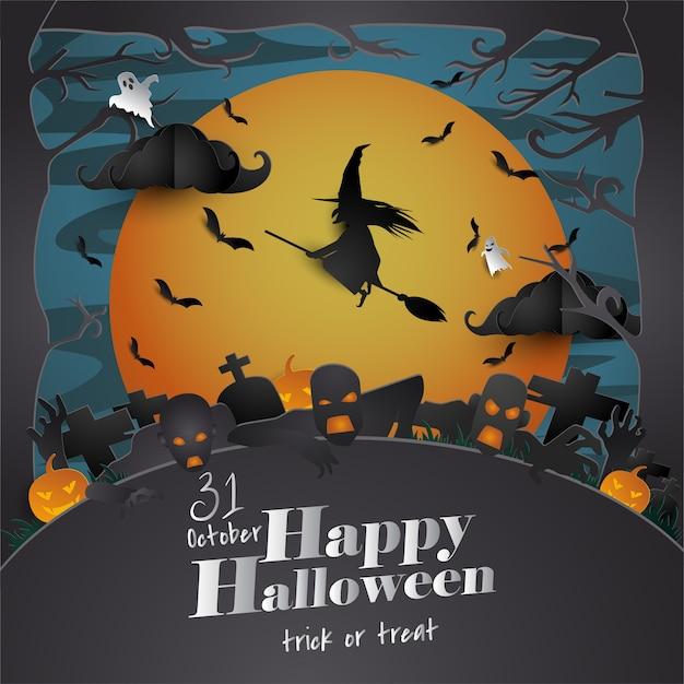 Papel arte cartão de dia das bruxas Vetor Premium