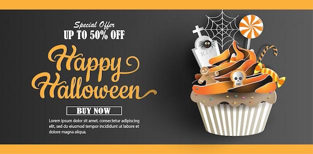 Papel arte e artesanato estilo, cupcake com doces decorações banner Vetor Premium
