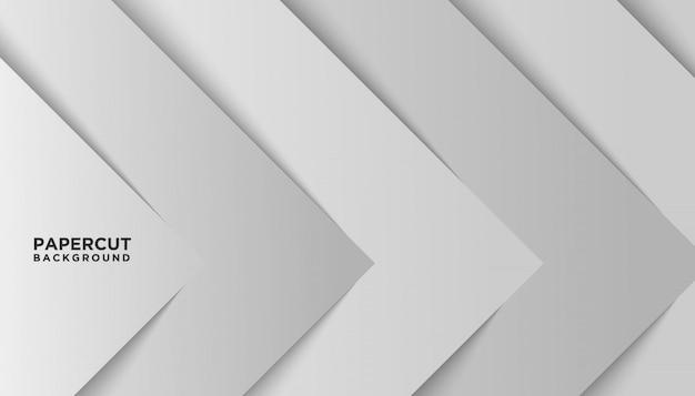 Papel branco abstrato corte fundo moderno Vetor Premium