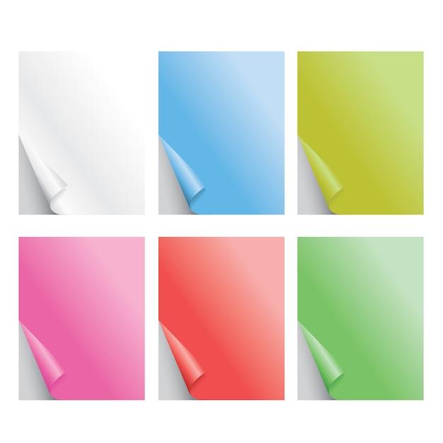Papel colorido dobrado realista ilustração vetorial de sombra Vetor Premium