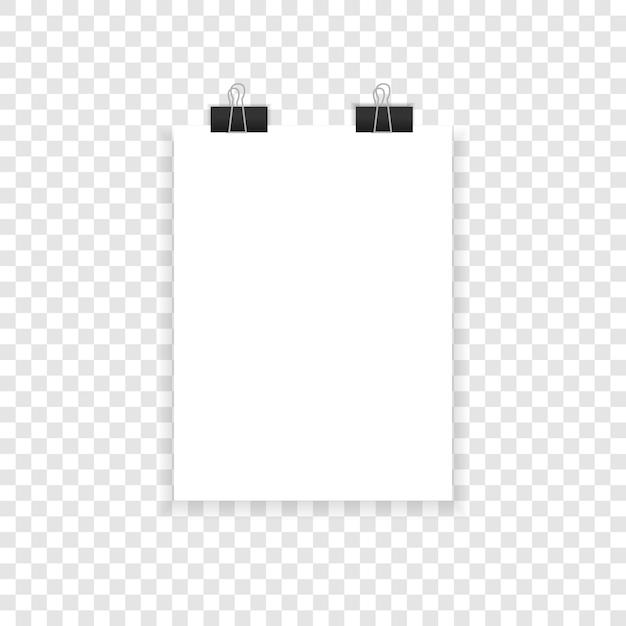 Papel com sombras em um fundo transparente. Vetor Premium