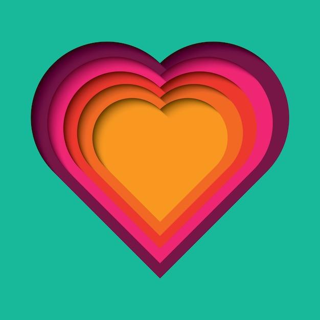 Papel cortado fundo com efeito 3d, forma de coração em cores vibrantes Vetor Premium