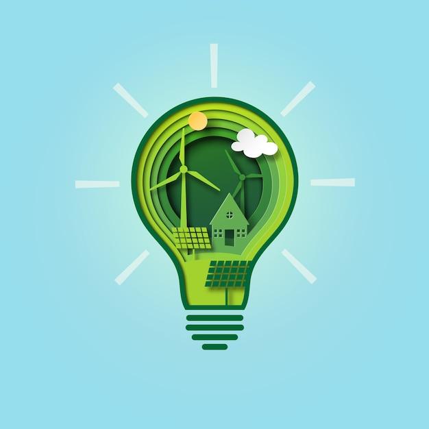 Papel cortado lâmpada de ecologia verde e conservação do meio ambiente. Vetor Premium