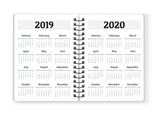 Papel de caderno aberto com calendários para 2019, fundo de 2020 anos Vetor Premium