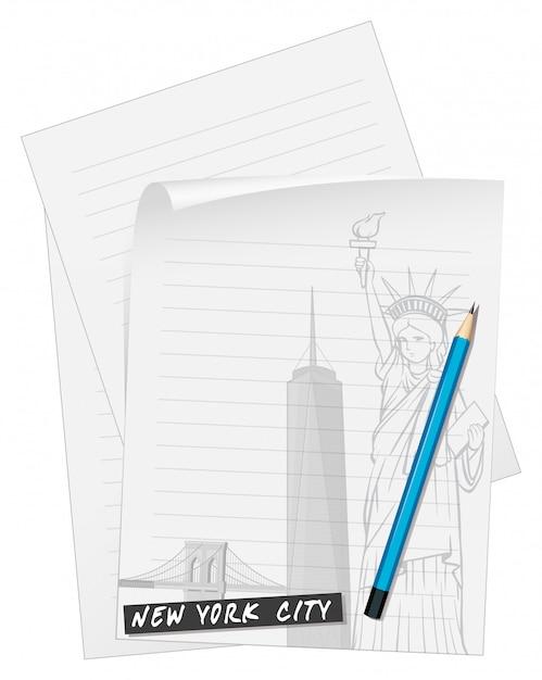 Papel de linha com lápis azul Vetor grátis