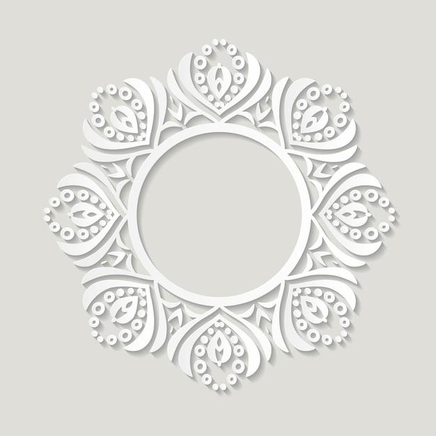 Papel de moldura de filigrana recortado. design vintage barroco Vetor Premium