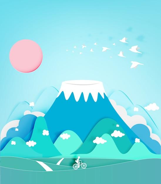 Papel de montanha colorida fuji corte ilustração em vetor fundo estilo Vetor Premium