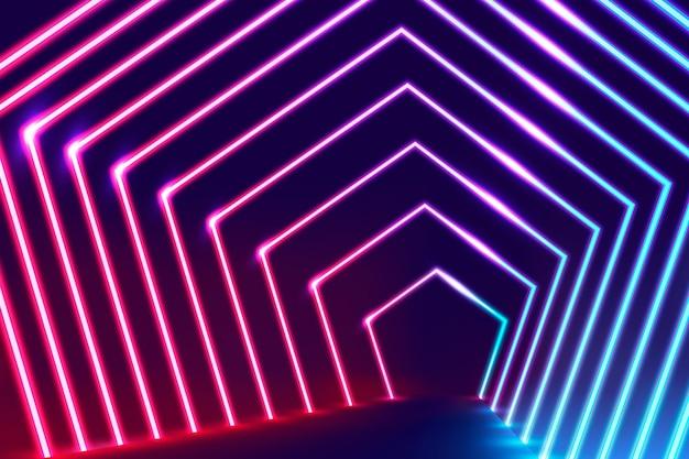 Papel de parede abstrato de luzes de néon Vetor grátis