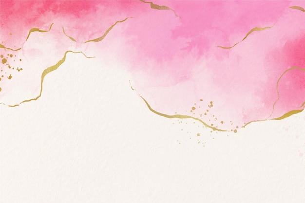 Papel de parede aquarela com folha dourada Vetor Premium